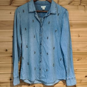 J. Crew Embellished Chambray Button Down Shirt